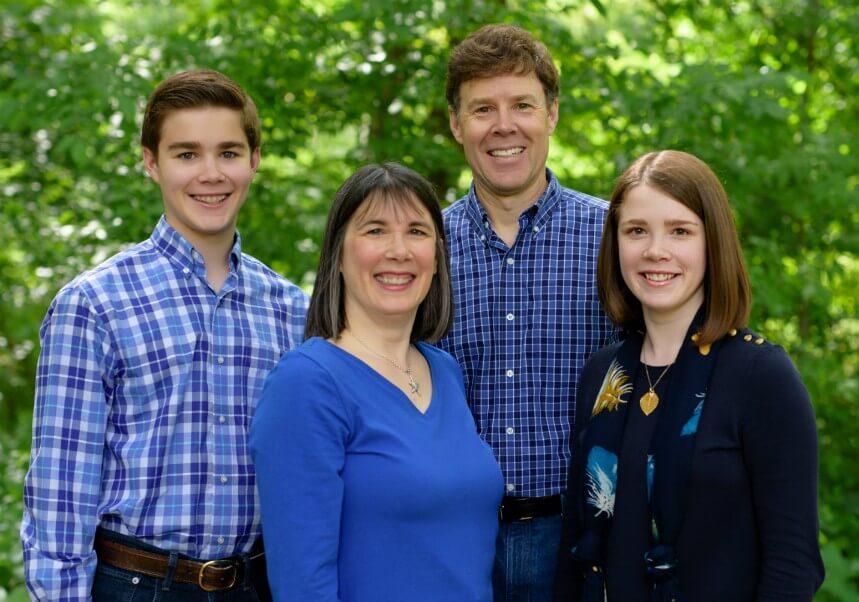 Timothy, Cindy, Tim and Elizabeth Sullivan together outside