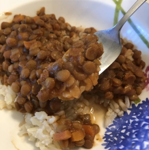 lentils in tomato sauce on a fork with rice and a dish full in the background