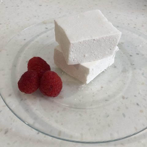 two marshmallows on a clear plate with three raspberries