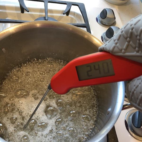 checking temperature in pot