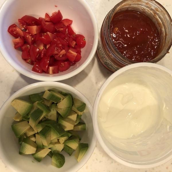 chopped avocado, chopped tomato, salsa & sour cream for toppings