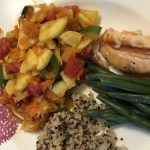 Mexican Squash without Corn on a dinner plate with quinoa, green beans and salmon